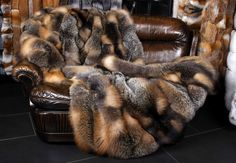 1344 Canadian Wild Cross Fox Fur Throw Genuine Bedspread Real Fox Quilt Blanket