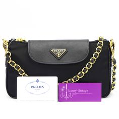 Prada Slingbag BT0779 Black Nylon With Black Saffiano Leather Brandnew Condition Ref.code-(KYYC-1.7) More Information Or Price Pls Email  (- luxuryvintagekl@ gmail.com)