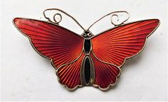 NO RESV Norwegian Silver & Enamel Butterfly Brooch David Andersen Norway Vintage