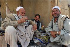 Kabul, Afghanistan - Afghan men relax and drink tea in Murad Khane, the old city (by Ivan Lo)
