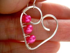 Silver Heart Earrings Wire Wrapped Jewelry by KiawahCollection, $15.75