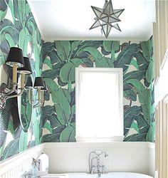 banana leaf wallpaper bathroom - Google Search