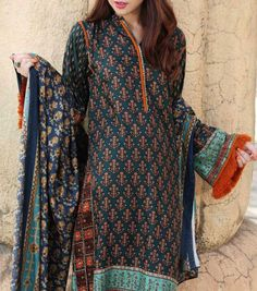 Buy Blueberry Printed Viscose Linen Dress by Nishat 2015.