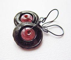 Onyx Peony Lampwork Earrings Handmade Glass Disk by CuteJewels, $46.00