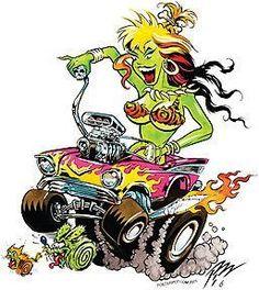 Pizz Pizz 57 Hotrod Girl Sticker by Poster Pop Cartoon Pics, Cartoon Art, Cars Cartoon, Ed Roth Art, Monster Car, Rockabilly, Cartoon Kunst, Rat Fink, Garage Art