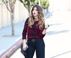 Red/ black plaid sweater.