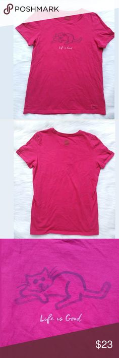 Life Is Good Hot Pink Cat Crusher Tee 🐈 LIFE IS GOOD Women's Fuchsia T-Shirt Relaxed Fit CRUSHER CAT  Size: Medium 100% Cotton GUC  Please feel free to message me if you have any questions. Stored in a clean, smoke free and pet free environment. Thank you (#72-B) Life Is Good Tops Tees - Short Sleeve