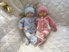 "Knitting pattern with Bunny Motif suitable for Premature Baby 2-3 lb or 10"" Doll"