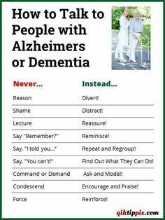 Good to know - how to speak to someone with Alzheimer's