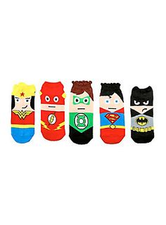 Five pairs of colorful no-show socks from DC Comics with Justice League themed kawaii character designs featuring Superman, The Flash, Green Lantern, Batman & Wonder Woman. #HotTopic