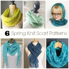 Spring Knit Scarf Patterns you must make this season! They are light and airy, and oh so fun to knit!     #knit #knitting #knittingpattern #yarn #yarncrafts #spring #diy