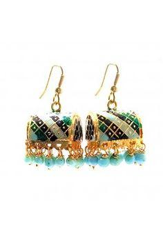 Sky blue meenakari small jhumka earrings