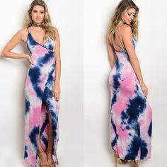 Clearance Blue & Rose Tie-Dye Slit Maxi Dress