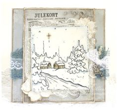 "Christmas Card by LLC DT Member Elizabeth Elton Hagen. The papers are from Pion Design's ""Silent Night"" collection and the image a background stamp from Magnolia."