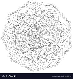 Adult coloring bookpage a zen mandala image for vector image on VectorStock Easy Drawings Sketches, Coloring Book Pages, Adult Coloring, Vector Free, Zen Art, Anti Stress, Graphic Design, Print Poster, Adobe Illustrator