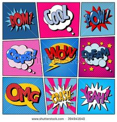 Comic Bubbles Set Expressions Pop Art vector image on VectorStock Graffiti Art, Comic Kunst, Comic Art, Images Pop Art, Moda Pop Art, Design Pop Art, Illustration Pop Art, Pop Illustrations, Comic Bubble