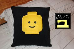 Lego inspired-pillow cover 16'' x16''-black fleece fabric