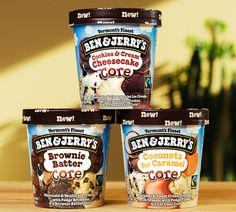 Ben & Jerry's new Core flavors: Brownie Batter, Coconuts for Caramal and Cookies & Cream Cheesecake.