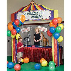 Add our personalized carnival booth to your carnival supplies. Add your own wording to make a custom carnival booth.