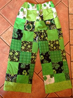 St. Patrick's Day patchwork pants by Tala Campbell