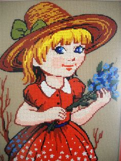 Handmade, cross stitched girl with flowers, wall hanging, made to order by EstersDoilies, $67.99