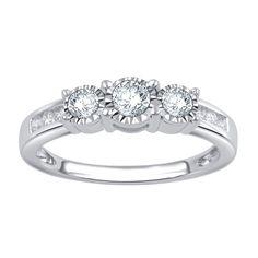 10k Gold 1/2ct TDW 3-stone Diamond Ring