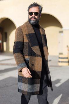 Urban Street Style, Burberry Plaid Coat, Mens Fall Winter Fashion.