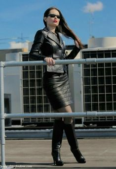 Ribbed black leather skirt cropped leather jacket and boots #hothighheelstightdresses