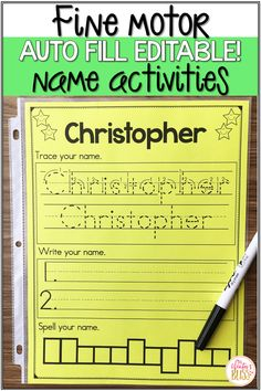 These editable fine motor name activities are fun for preschool and kindergarten kids who are learning to recognize and write their names. Kindergarten Name Practice, Name Writing Practice, Kindergarten Literacy, Name Writing Activities, Preschool Names, Learn To Spell, Learning To Write, Beginning Of School, Fine Motor
