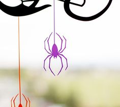 """Spider Web Window Cling - This spooky window cling project is perfect for greeting guests this Halloween! This project measures 19"""" x 18"""". Images are from the Cricut® Potions & Spells digital cartridge. ❤ Shanon"""