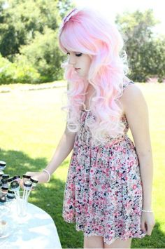 Leda pink hair cute dress