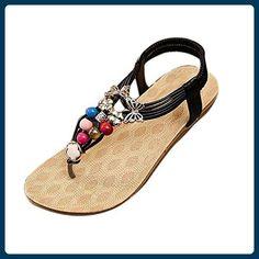 612b223db38f95 Minetom Damen Mädchen Sommer Sandalen Böhmischen Stil Perlen Schuhe  Klippzehe Pantoffeln Schwarz 37 - Sandalen für frauen ( Partner-Link
