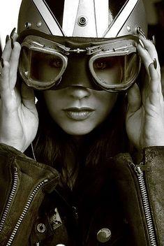 Motolady half helmet and goggles. Classy!