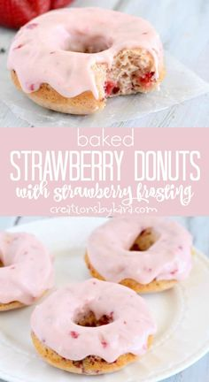 Baked Strawberry Donuts with Strawberry Frosting- Creations by Kara - Recipe for Baked Strawberry Donuts with Strawberry Cream Cheese Frosting – One Strawberry Donut w - Easy Donut Recipe, Baked Donut Recipes, Baked Doughnuts, Baking Recipes, Recipe For Donuts, Waffle Donut Recipe, Sweet Potato Donut Recipe, Cake Donut Recipe Baked, Cream Donut Recipe
