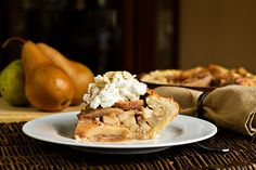 Rustic Spiced Pear Pie with Almond Whipped Cream