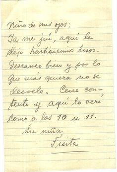 """Carta de Frida Kahlo a Diego Rivera """"Niño de mis ojos; ya me juí, aquí le dejo hartísimos besos..."""""""