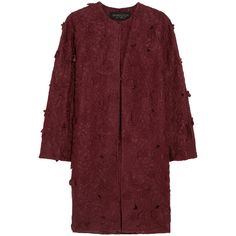 Giambattista Valli Embroidered silk-organza coat ($3,160) ❤ liked on Polyvore featuring outerwear, coats, burgundy, red coat, giambattista valli, burgundy coat, floral coat and giambattista valli coat
