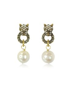 Small Panthers Goldtone Brass w/Glass Pearls Drop Earrings - Alcozer & J