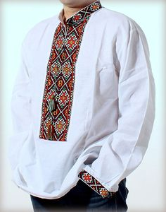 VYSHYVANKA Men's Ukrainian  Embroidery White Hutsul WEDDING SHIRT size S-4XL #Unbranded #Folk