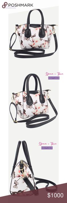 """White Floral & Butterfly Print Bag BRAND NEW  Elegant white zipper florals and butterfly print PU bag with strap.  Measurement: Length - 28cm Width - 13cm Height - 18cm Handle Height - 12cm Strap Length - 60-120cm  Submit your offer thru the """"Offer"""" button NO Price discussion in the comment NO Lowballing NO Trades Bags"""