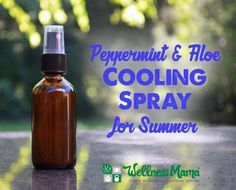 This essential oil cooling spray uses aloe vera, witch hazel and peppermint to cool skin quickly and naturally or sooth bug bites & sunburn.