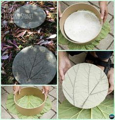 DIY Concrete Leaf Imprinted Stepping Stone Instruction-DIY Big Rhubarb Leaf Garden Projects