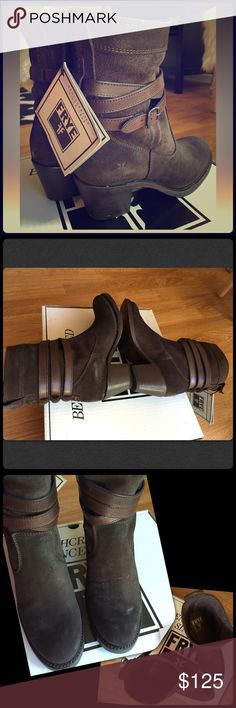 """NIB Frye Jane Strappy short boot New in box. Charcoal oiled suede (looks like a dark brown). Intentional distressing and hand-craftsmanship make each set of boots unique. Heel approx 2.25"""". Authentic Frye. This style runs 1/2 size large. Frye Shoes Ankle Boots & Booties"""