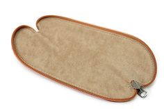 Zip Wrap Leather Pencil Case - Twist Model - Camel Brown - ZW00232F