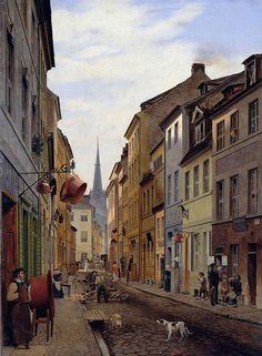 1831 Gemaelde von Eduard Gaertner:Klosterstrasse Richtung Parochialkirche blickend.