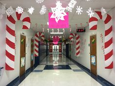 Candy Cane forest: large candy canes made from poster board, candy canes hanging from ceiling made of card stock, wall candy canes copied on 11x17 paper.