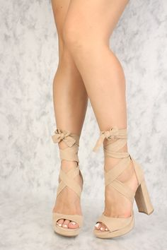 faccd1c58283 Buy Sexy Natural Strappy Open Toe Platform Pump Chunky High Heels Faux  Suede with cheap price
