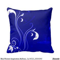 Blue Flowers Inspiration Airbrush Art Throw Pillow
