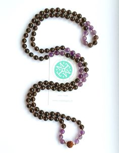 Destiny Mala with Amethyst Smoky Quartz and Sardonyx - 108 beads of 8mm with Rudraksha Guru bead