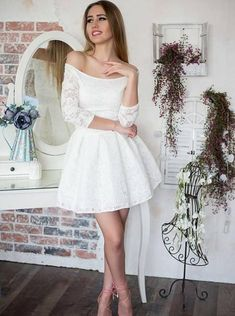 Off the Shoudler Lace White Homecoming Dress Short Prom Dresses with Long Sleeves · OKProm · Online Store Powered by Storenvy White Homecoming Dresses Short, Hoco Dresses, Short Prom, Dresses For Teens, Casual Dresses, Mini Dresses, Wedding Dresses, Dress Prom, Formal Dresses